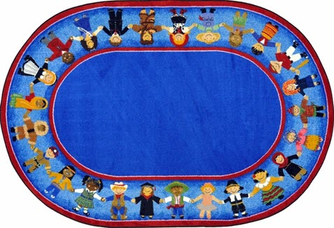 Children Of Many Cultures Rug 5'4 x 7'8 Oval