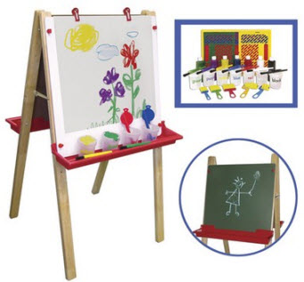 ECR4Kids Children's Easel with 27 Piece Paint Crate Set