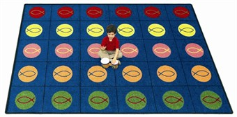 Circles & Symbols Sunday School Rug 5'4 x 7'8 Rectangle