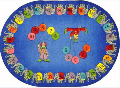 Circus Elephant Parade Educational Rug 10'9 x 13'2 - Oval