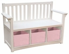 Classic White Kids Storage Bench with Bins