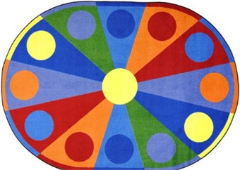 Color Wheel Kids Area Rug 10'9 x 13'2 Oval