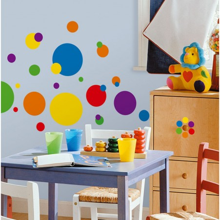 Colorful Dots Primary Peel & Stick Appliques - Free Shipping