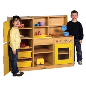 ECR4Kids Colorful Essentials 4-in-1 Play Kitchen - 3 color choices