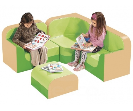 Waiting Area Corner Club Chair & Sofa Kids Vinyl Parlor Set