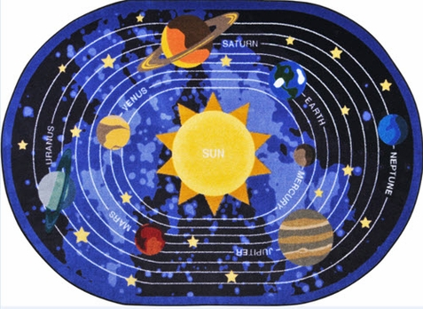 Cosmic Wonders Classroom Area Rug 10'9 x 13'2 Oval