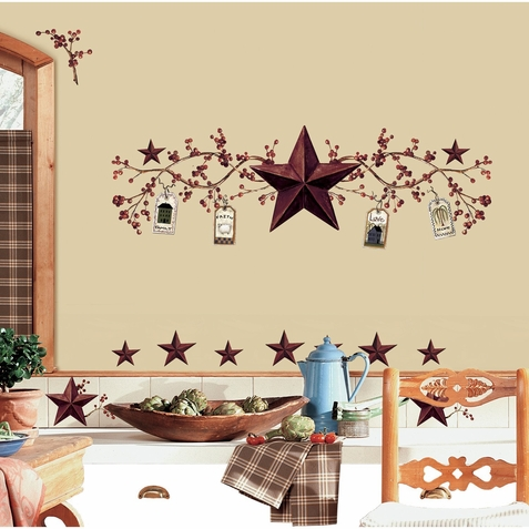 Country Stars & Berries Peel & Stick Decals