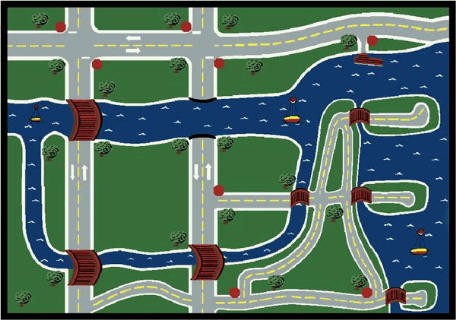 Creataville Roads and Rivers Playroom Rug 7'8 x 10'9 Rectangle