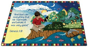 Creation Education Faith Based Rug 5'4 x 7'8 Rectangle