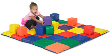 12 Piece Toddler  SoftZone Patchwork Mat & Block Set