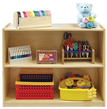 ECR4Kids 2 Shelf Birch Storage Cabinet with Back