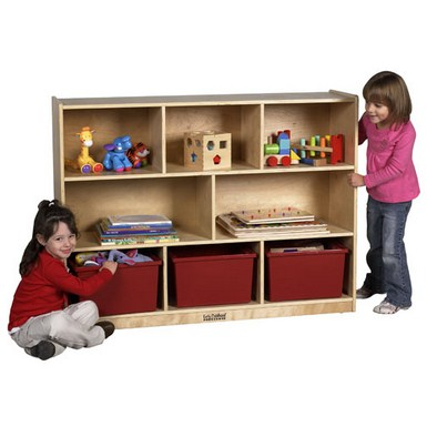 "ECR4Kids 36"" Birch Storage Cabinet - 8 Compartments"