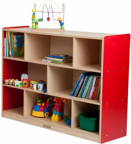 "ECR4Kids 36""H Colorful Essentials Storage Cabinet - 8 Comp"