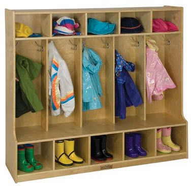 ECR4Kids 5-Section Birch Coat Locker with Bench