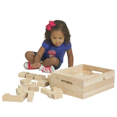 ECR4Kids 64 Piece Hardwood Unit Block Set with Carry Case