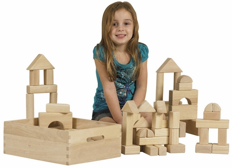 64 Piece Hardwood Unit Block Set with Carry Case