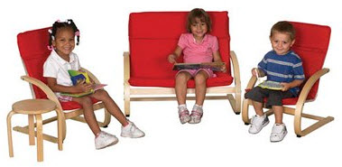 ECR4Kids Bentwood 4 Piece Comfort Living Room Set