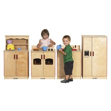 ECR4Kids Birch 4 Piece Play Kitchen Set