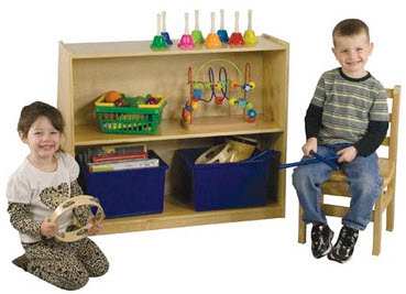 ECR4Kids Birch Book Display with Storage