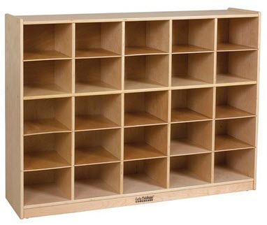 ECR4Kids Birch School Storage Cabinet w/ 25 Tray Cubbies