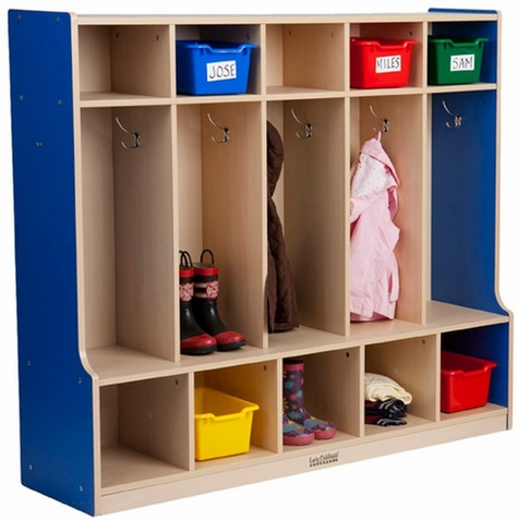 ECR4Kids Colorful Essentials 5 Section Coat Locker + Bench