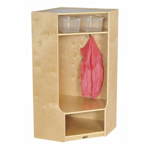 ECR4Kids Corner Section Birch Coat Locker with Bench