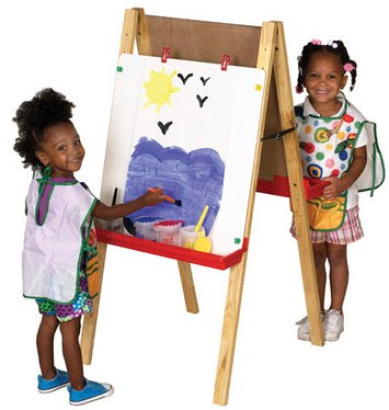 ECR4Kids Double-Sided Adjustable Easel w/ Chalkboard and Dry Erase