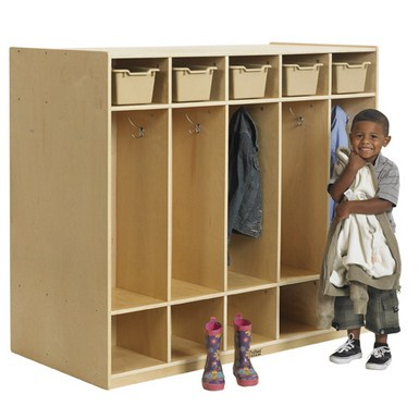 ECR4Kids Double Sided Birch 10 Section Coat Locker