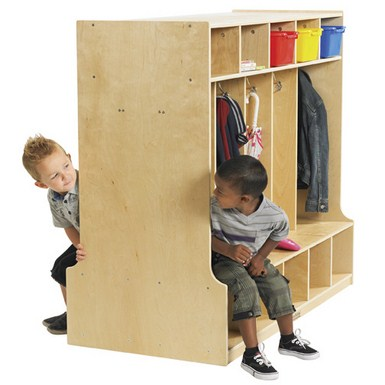 ECR4Kids Double Sided Birch 10 Section Locker w/ Bench