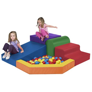ECR4Kids SoftZone Primary Climber with Ball Pool