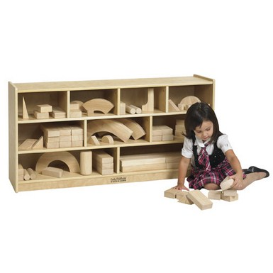 ECR4Kids Wooden Block Storage Cabinet - Large