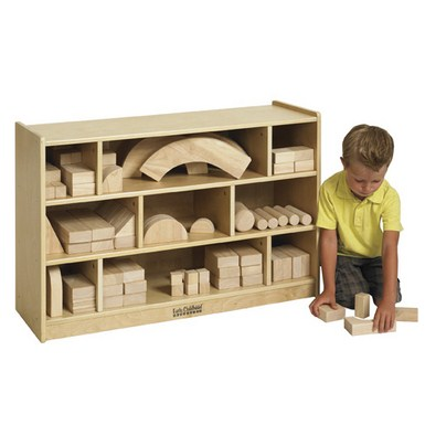 ECR4Kids Medium Wooden Block Storage Cabinet
