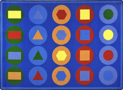 Encircled Shapes Classroom Rug 10'9 x 13'2 Rectangle