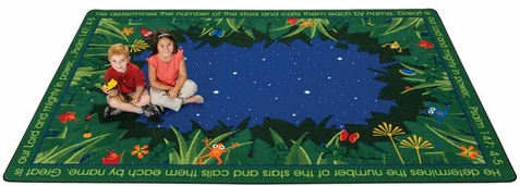 Faith Based Rug He Numbers the Stars 6' x 9'