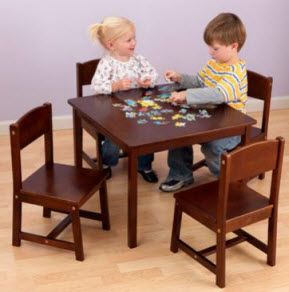 KidKraft Farmhouse Table and 4 Chair Pecan