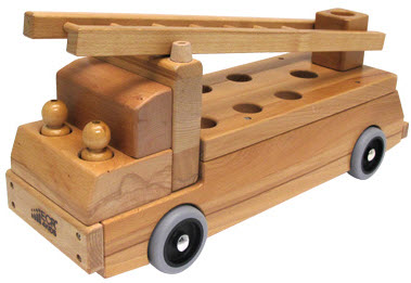 Fire Truck Wood Transportation Vehicle Toy