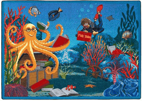 Fish Tales Playroom Rug 7'8 x 10'9 Rectangle