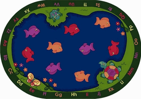 Fishin' Fun School Rug 10'9 x 13'2 Oval