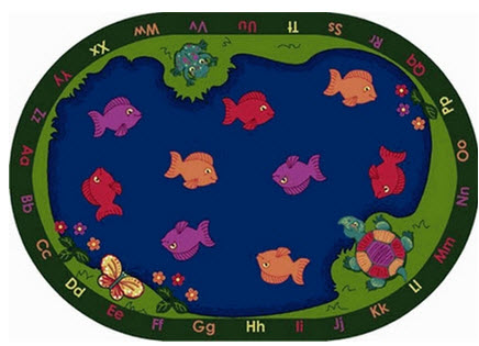 Fishin' Fun School Rug 5'4 x 7'8 Oval