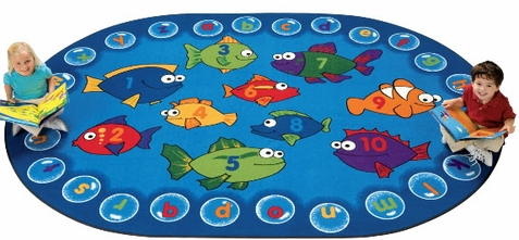 Fishing for Literacy Oval Classroom Rug 3'10 x 5'5