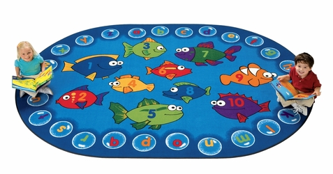 Fishing for Literacy Oval Classroom Rug 5'5 x 7'8