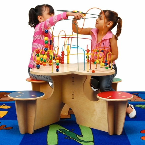 Anatex Fleur Rollercoaster Table with 4 Attached Seats