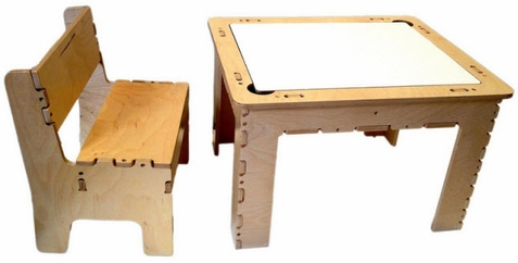 Flip Top Dry Erase And Chalk Table w/ Bench