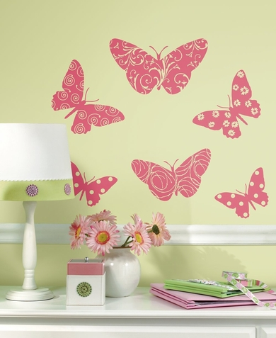 Flocked Butterfly Peel & Stick Appliques