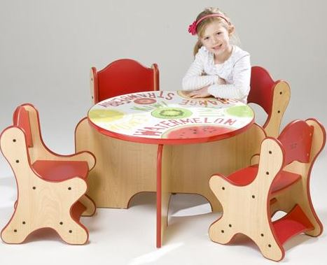 Fresh Fruit Table & 4 Red Chairs Set