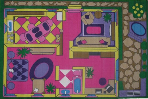 Fun Time Dollhouse Girls Area Area Rug