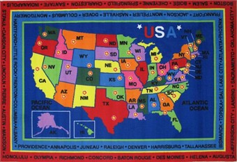 Fun Time State Capitals Area Rug