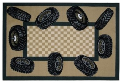 Fun Time Tire Border Area Rug