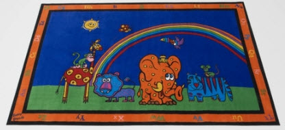 Funny Animal Friends Alphabet Rug 6' x 9'