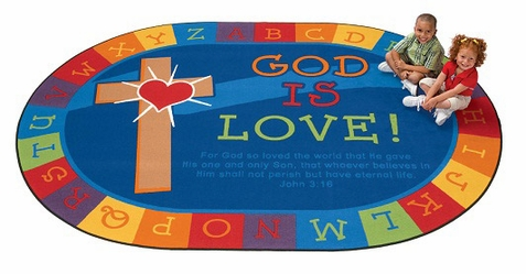 God is Love Learning Oval Rug 5'5 x 7'8